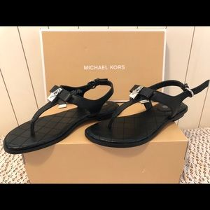 Michael Kors Alice Black leather Sandals size 5.5M